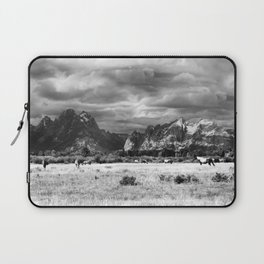 Horse and Grand Teton (Black and White) Laptop Sleeve
