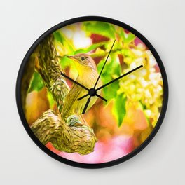 Painted House Wren Wall Clock