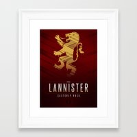 tyrion Framed Art Prints featuring House Lannister Sigil III (house seat) by P3RF3KT