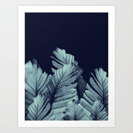 Navy Blue Banana Leaves Dream #1 #tropical #decor #art #society6 Art Print