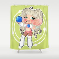 rave Shower Curtains featuring art RAVE Kawaii by Chimi-uzz