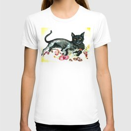 Coffee, Orchid and Black Cat Vintage Style Large Format XXL T-shirt