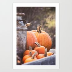 pumpkins + milk cans Art Print