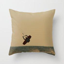Kite Surfer Jumping Mandrem Throw Pillow