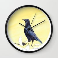 crow Wall Clocks featuring Crow by ankastan