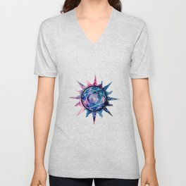 Crystal Sun | Planet Symbol | Watercolor Unisex V-Neck