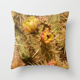 Cacti in Bloom Throw Pillow