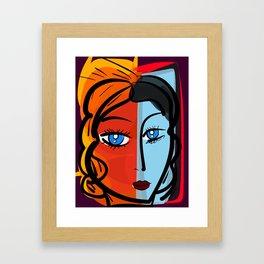Red Blue Pop Girl Portrait Expressionist Art Framed Art Print