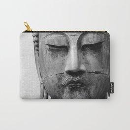 Buddha Statue, Buddha Photograph, Black and White Buddha Print Carry-All Pouch