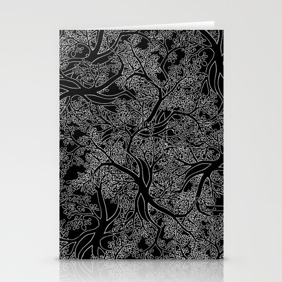 Tree Repeat Black Stationery Cards