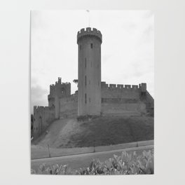 Black and white English Castle Poster