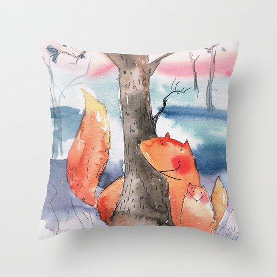 Spring foxes Throw Pillow