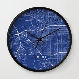 Pomona Map, USA - Blue Wall Clock