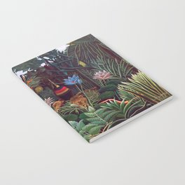The Dream by Henri Rousseau 1910 // Jungle Lion Flowers Native Female Laying Colorful Landscape Notebook