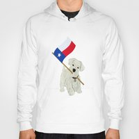 westie Hoodies featuring Original Paper Cutting of Westie With Texas Flag by Carrie McFerron
