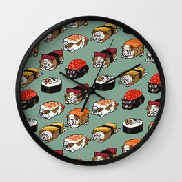 Sushi English Bulldog Wall Clock