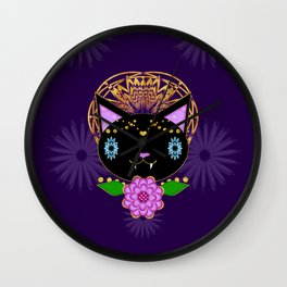 Tripped Out Black Cat Wall Clock