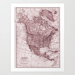 Vintage map of The North America Art Print
