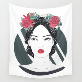 Zodiac: Illustration of Virgo zodiac sign as a beautiful girl. Wall Tapestry