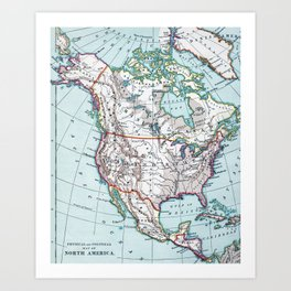 Colorful Vintage North America Map Art Print