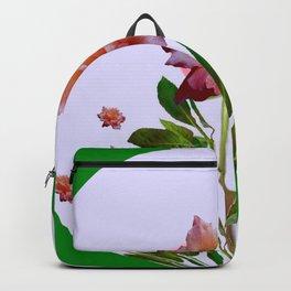 GREEN COLOR   CORAL  PINK ROSES BOTANICAL ART Backpack