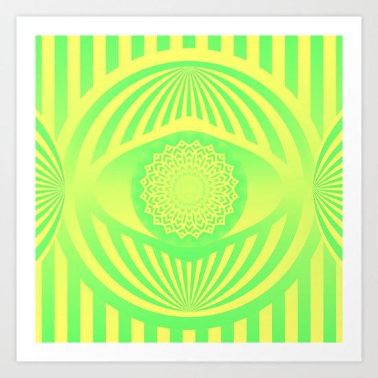 Green/Yellow Ombre Pattern Art Print