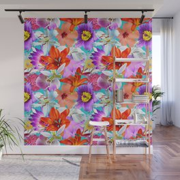 Tropical Floral Study in Turquoise Wall Mural