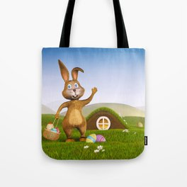 I - Easter bunny with a basket and Easter eggs Tote Bag