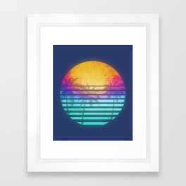 Vintage Retro 80's Synthwave Sunset Palms Framed Art Print