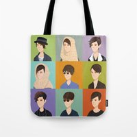 tegan and sara Tote Bags featuring Tegan and Sara: Montage by Cas.