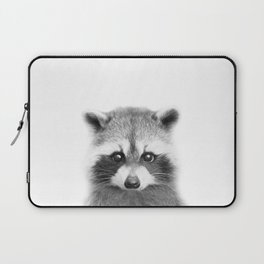 Baby Raccoon Black & White Art Print, by Zouzounio Art Laptop Sleeve