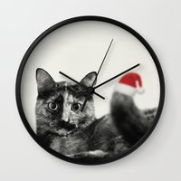 merry christmas Wall Clocks featuring Merry Christmas! by SensualPatterns
