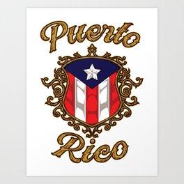 Puerto Rico Emblem - Puerto Rican Pride Flag Art Print