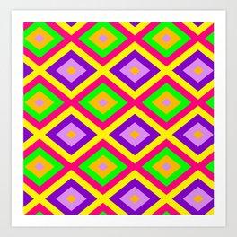 Happy Colors Seamless Diamond Pattern Art Print