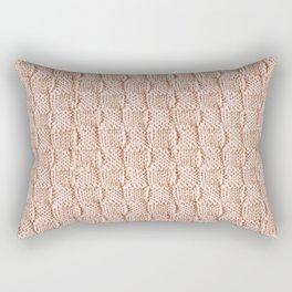 Ecru Knit Textured Pattern Rectangular Pillow