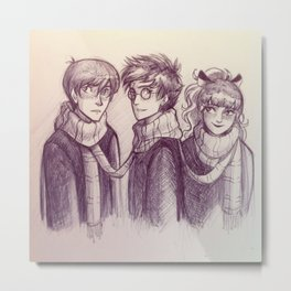 Harry, Ron & Hermione Metal Print