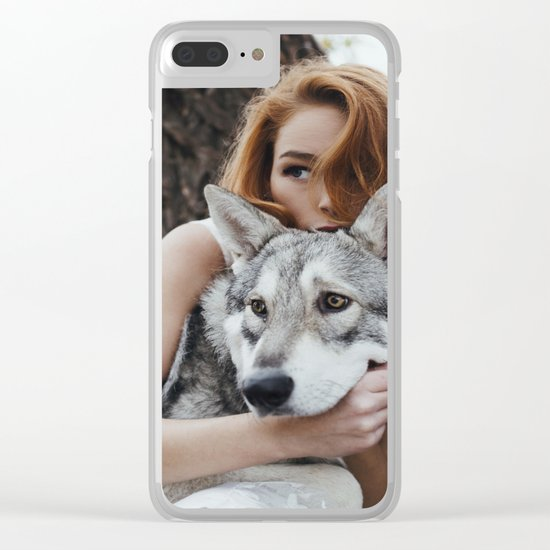 Girl wolf Clear iPhone Case