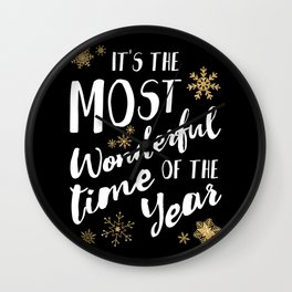 It's the Most Wonderful Time of the Year - Black Wall Clock