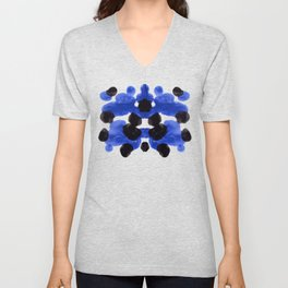 Periwinkle Purple Blue And Black Ink Blot Diagram Unisex V-Neck