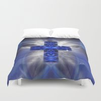 cross Duvet Covers featuring Cross by Mr D's Abstract Adventures