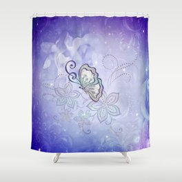 Bautiful butterflies with flowers Shower Curtain