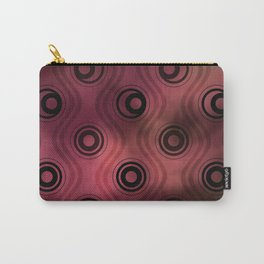 Bold Circle Rings and Wavy Lines on Abstract Blurred Red Patch Background Carry-All Pouch