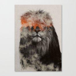 Lion In Fog Canvas Print