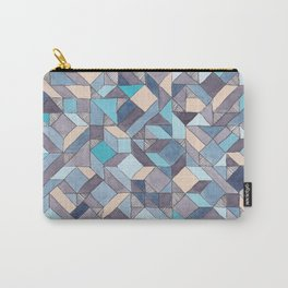 Shifitng Geometric Pattern in Blue Carry-All Pouch