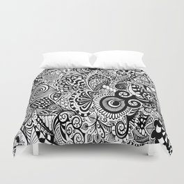 Mushy Madness doodle art Black and White Duvet Cover