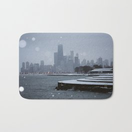 Chicago in the Snow Bath Mat