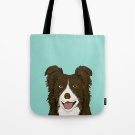 Border Collie chocolate brown cute working dog breed herding dogs gift for border collie owner pets Tote Bag