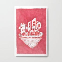 Red Floatie Island Buildings Metal Print