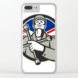 British Tyre Technician Lug Wrench Union Jack Flag Circle Icon Clear iPhone Case