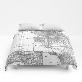 Vintage Map of Florida (1909) BW Comforters